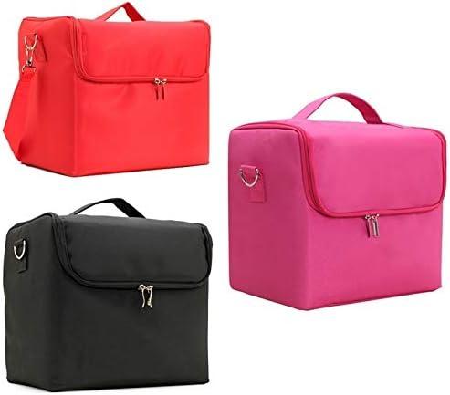 YouNITE 1PC大容量メイクアップバッグマルチレイヤマニキュア美容刺繍ツールキット化粧品収納ケーストイレタリーバッグ (Color : Pink)
