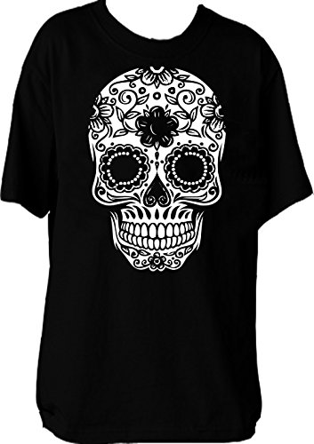 Custom Kingdom Mens Mexican Sugar Skull T-shirt (XXL, (Sugar Skull Outfit Halloween)