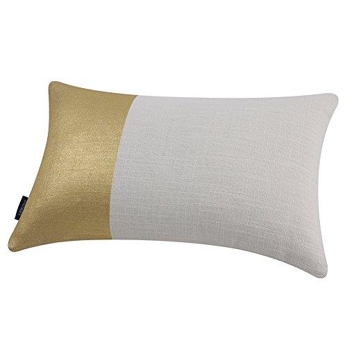 Aitliving Metallic Gilding Gold Print Throw Pillow Case Natural Linen Blend Block Panel Pillow Cover Breakfast Cushion Shell Accent Bolster Pillow Sham 30X50cm, ()