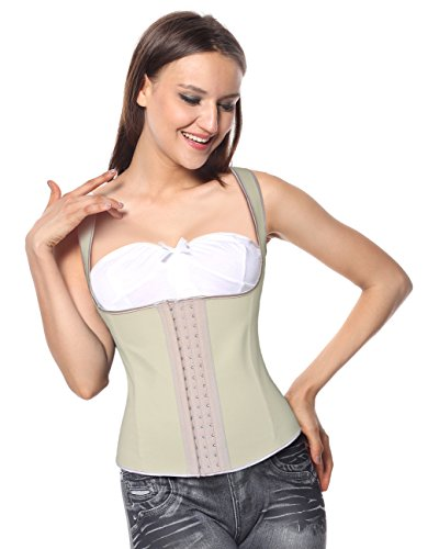 Charmian Women's Spiral Steel Boned Latex Waist Training Cincher corsé Vest Vest-apricot