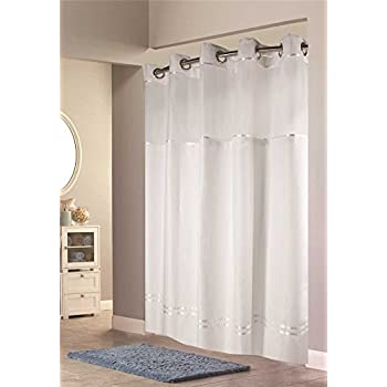 Amazon.com: Hookless Escape Shower Curtain, With Snap in Liner ...