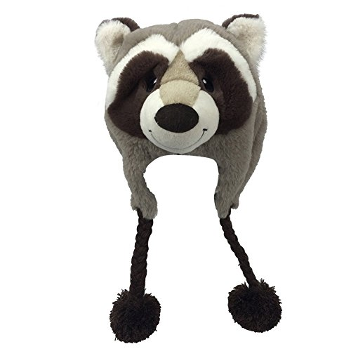[Snuggle Stuffs Kids Plush Taupe Rascal Raccoon Hat] (Two Face Costume For Kids)