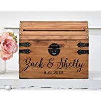 Personalized Wedding Card Box Rustic Wedding Card Holder with Slot Wedding Keepsake Box Wooden Box