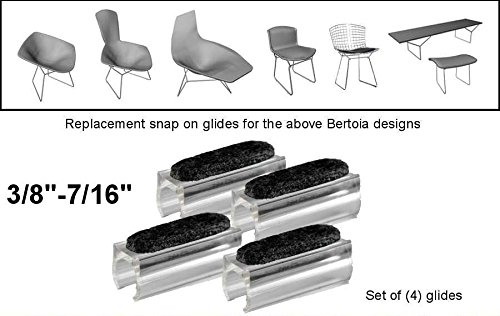 "ProximityStandart 3/8""-7/16"" Replacement Sled Felt Base Glides for Harry Bertoia Chair Furniture Bench Diamond Bird Knoll Parts Set of 4"