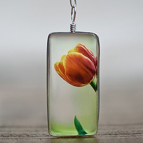 Handmade Glass Tulip Necklace on Sterling Silver: Original Flower Image Fused to Artisan Made Pendant on Italian Sterling Silver Box Chain