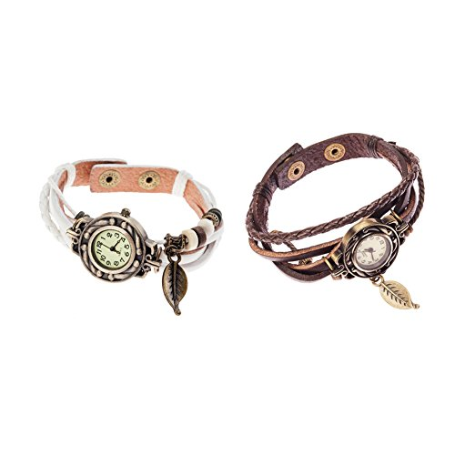 2 Elegant Vintage Style Ladies Wrist Watches With White And Brown Wrap, Leather Bracelets And Leaves Charms / Pendants