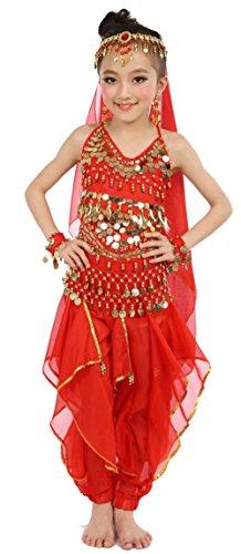 Cielary Kids Girls Belly Dance Halter Top Harem Pants Costume Set Halloween Outfit with Head Veil Waist Chain and Bracelets (M(Height: 47