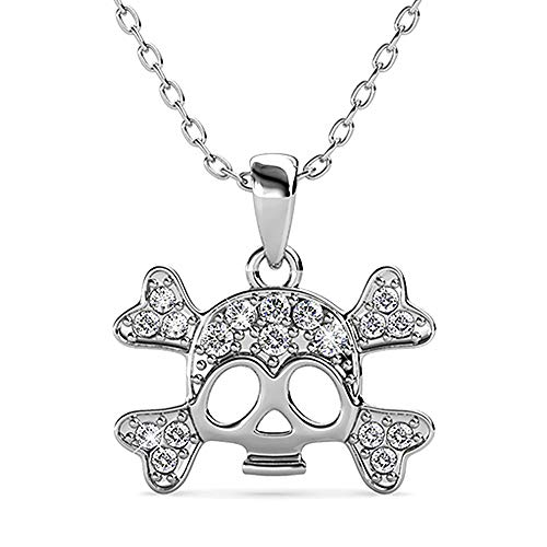 Silver & Post New! 18K White Gold Plated Beautiful Skull and Cross-Bone Pendant and Chain with Premium Austrian Crystals. Fancy Burlap Gift Box Included.