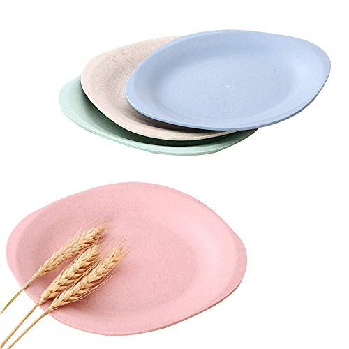tter Plates - 4 PCS 7.3 Inch Appetizer Dessert Plates - Lightweight & Unbreakable, Microwave & Dishwasher Safe ()