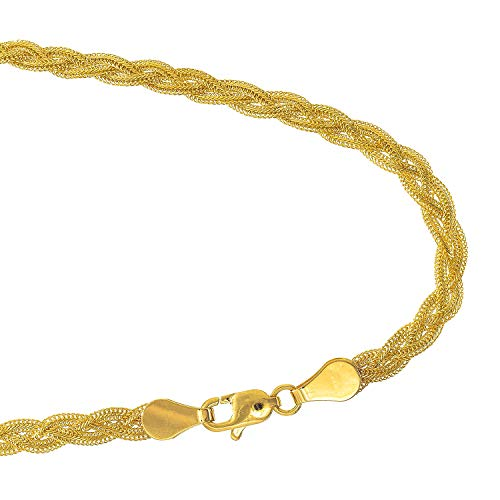JewelStop 14k Yellow Gold 3.5 mm Braided foxtail Chain Bracelet, Lobster Claw- 7
