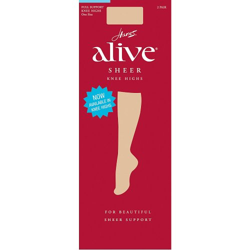 Hanes Alive Full Support Sheer Knee-Highs 6-Pack 6-Pack, Barely Black, 1SIZE by Hanes