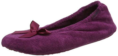 Ballet Femme W Chaussons berry bow Isotoner Slippers Terry Rose qO4ZCnfw