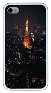 iPhone 4S/4 Case Cover - Night In Paris TPU Polycarbonate Hard Case Back Cover for iPhone 4S and iPhone 4 - White