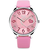 Girls Analog Watch, Fashion Lady Quartz Wrist Watch Leather Strap Big Face Fun Cute Watches with Lovely Heart Shape Water Resistant - Pink