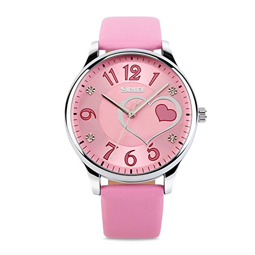 Girls Analog Watch, Fashion Lady Quartz Wrist Watch Leather Strap Big Face Fun Cute Watches with Lovely Heart Shape Water Resistant - Pink Girls Fashion Watch