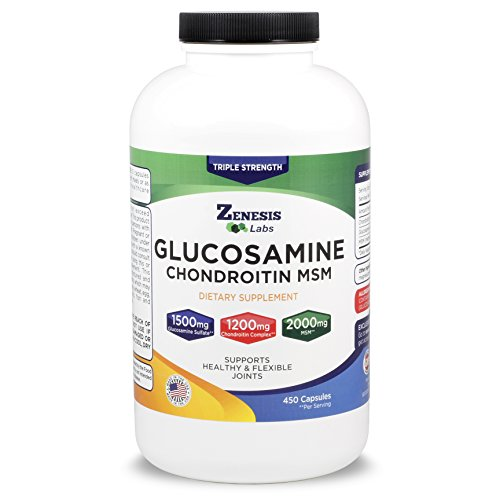 Glucosamine Sulfate + Chondroitin + MSM - 450 Capsules (90 Day Supply) + FREE Joint Pain eGuide - 1500mg, 1200mg, 2000mg Per Serving - Back, Knee Pain Relief