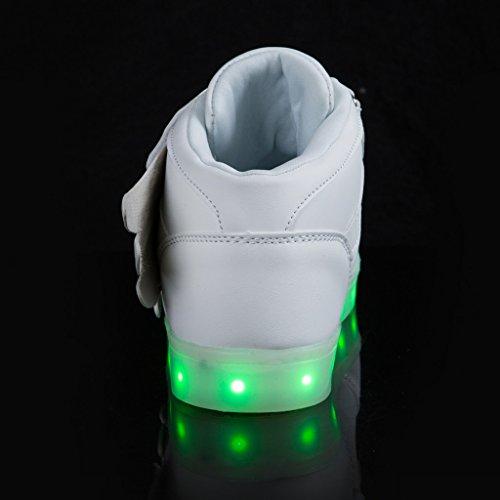 SAGUARO® Unisex niños USB Carga LED Luz Luminosas Flash Zapatos Zapatillas de Deporte para Los Reyes Magos Blanco 5