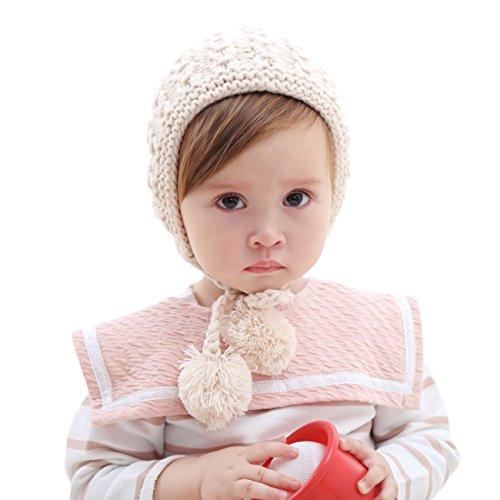 Winter Peruvian Beanie for Baby Toddler Kids (1-4 Years) Ski HINDAWI Hat Boys Girls Knit Cap with Earflap Pom Beige