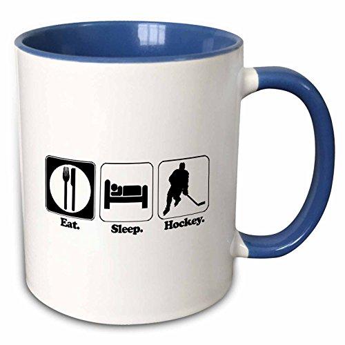 3dRose (mug_116960_6) Funny Hobby Lifestyle Design Eat Sleep Hockey - Two Tone Blue Mug, (Hockey Mug)