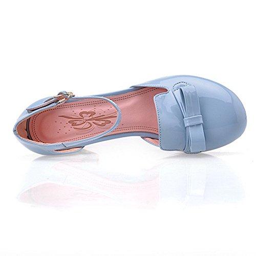 AllhqFashion Mujeres Puntera Redonda Cerrada Tacón ancho Sólido Hebilla Sandalia Azul