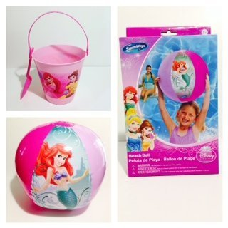 Disney Princess Pail - Disney Princess Sand Buckets And Shovel + Beach Ball Set Bundle