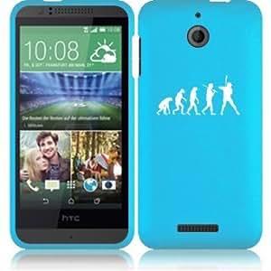 HTC Desire 510 Snap On 2 Piece Rubber Hard Case Cover Evolution Baseball (Light Blue)
