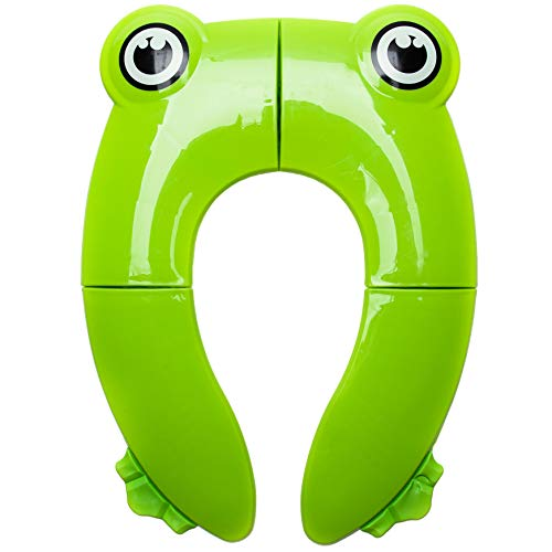 Seat Potty Folding Portable (Travel Potty Seat New Upgrade for Kids Boys & Girls | Portable Folding Large Non Slip Silionce Pads Potty Training Seat with Carry Bag for Babies | Toddlers Toilet Seat, Recyclable Potty Seat Cover)