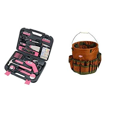 Apollo Tools 135 Piece Complete Household Tool Kit and Most Useful Hand Tools and DIY accessories Pink Ribbon with Bucket Boss 10030 The Bucketeer BTO