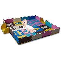 Infant Foam Play Mat For Baby with Safe Fence Baby Mats # 1 Early Stage Development Gym Mat Hypoallergenic Non-Toxic Tummy Time