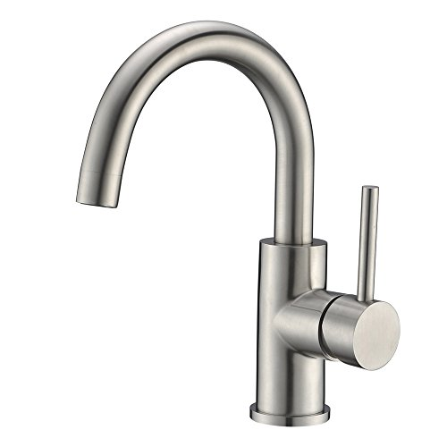 Bar Sink Faucet Crea Stainless Steel Farmhouse Bathroom Lavatory Sink Faucet Mixer,Small Kitchen Faucet Tap Brushed Nickel ()