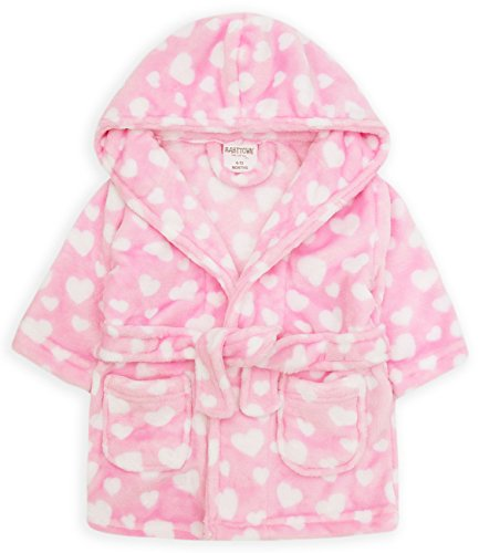 - Baby Dressing Gown Super Soft Plush Fleece from 6 Months to 18 Months Boy Girl (18-24 Months, Pink Heart Hooded Robe)