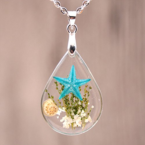 (Chicer Pendant Real Starfish Seashell Underwater Plant Life Necklace, Cute Drop Water Necklace for Women and Girls. (Light Blue))