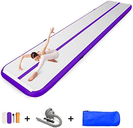 EZ GLAM 10ft 13ft 16ft 20ft Air Track Inflatable Gymnastics Tumbling Air Track Mat with Electric Air Pump for Cheerleading Practice Gymnastics Beach Park Home use