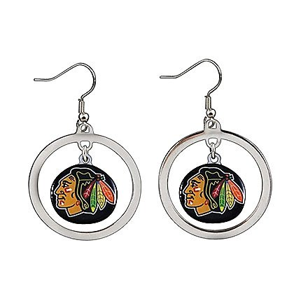 - NHL Chicago Blackhawks Floating Logo Hoop Earrings