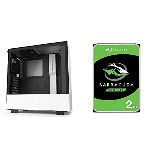 NZXT H510 - CA-H510B-W1 - Compact ATX Mid-Tower PC Gaming Case - White/Black & Seagate BarraCuda 2TB Internal Hard Drive HDD – 3.5 Inch SATA 6Gb/s 7200 RPM 256MB Cache 3.5 – Frustration Free Packaging