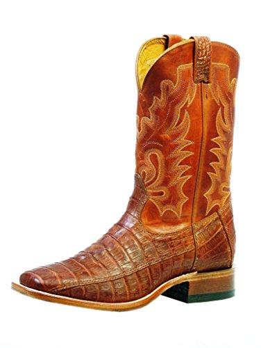 Stivali Americani - Stivali Da Cowboy Pelle Di Serpente Esotico (kroko) Bo-9529 - 65-e (piede Normale) - Uomo - Marrone