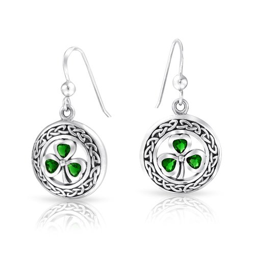 (Celtic Knot Work Lucky Clover Kelly Green Circle Dangle Earrings Fish Hook Simulated Emerald Glass 925 Sterling Silver )