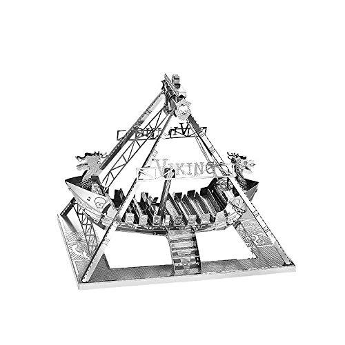 juler Modelo Tridimensional de Metal ensamblado en 3D Rompecabezas de DIY Modelo de Barco Pirata Vikingo,Plata,Un tamaño