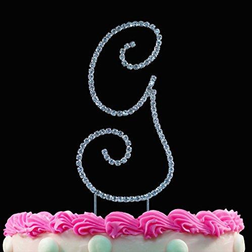 Monogram Cake Toppers Sparkling Crystal Cake Topper Swirl Script Silver Letter by Yacanna (Swirl Monogram)