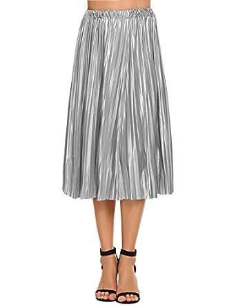 47bcc49d5 Zeagoo Women Pleated A-Line Midi Skirt Elastic High Waist Skirt for Party  and Festival