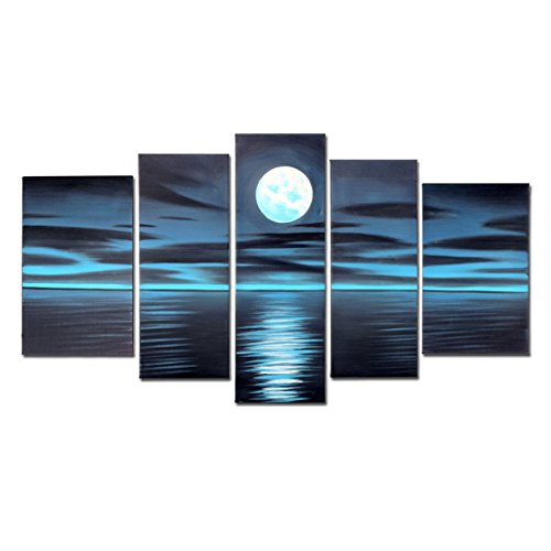 VASTING ART Blue Night Moon Hand Painted Oil Paintings on Canvas Framed and Stretched Modern Abstract Art Landscape Seascape Artwork for Living Room Home Wall Decoration
