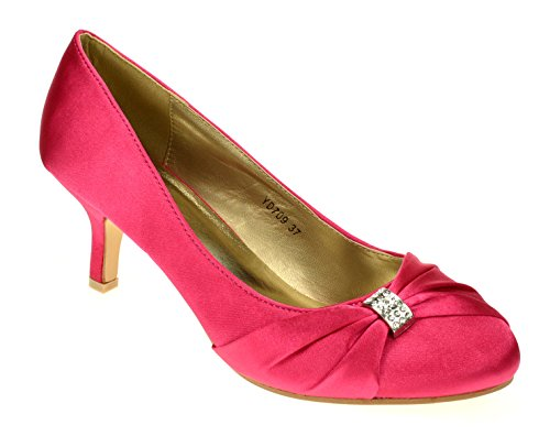 Chic Feet Womens Satin Or Lace Wedding Bridal Prom Bridesmaid Low Heel Ladies Party Court Shoes Hot Pink / Fuschia 0kyy3