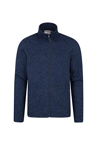 Mountain Warehouse Idris Mens Full Zip Fleece  Soft All Season Jacket Blue Medium