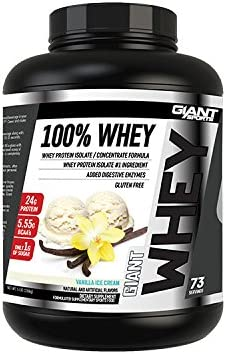Giant Sports 100 Whey Protein, Vanilla 5 Pounds, Gluten Free, High Quality with Added Digestive Enzymes