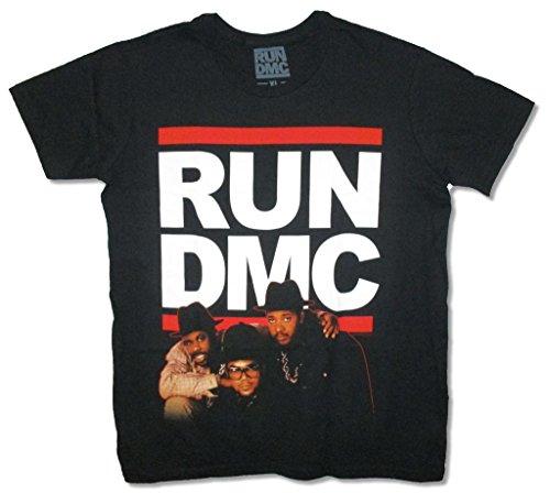 Run DMC Red Outline Band Pic Adult Black T Shirt - Band Dmc Run
