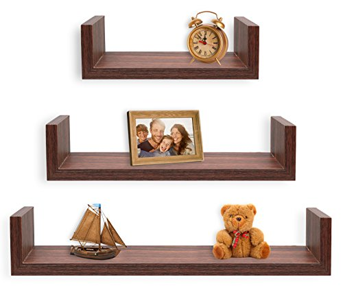 (Greenco Set of 3 Floating U Shelves, Walnut Finish)