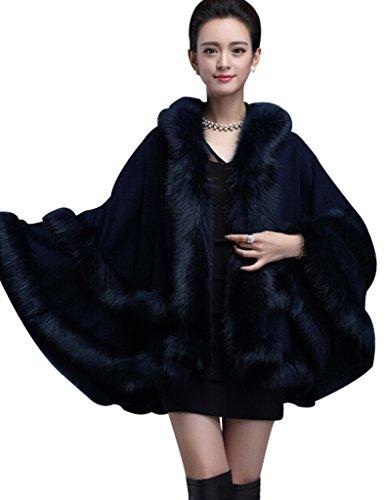 Aphratti Women's Faux Fox Fur Trim Hooded Knit Cape Cloak Coat One Size Navy Blue]()