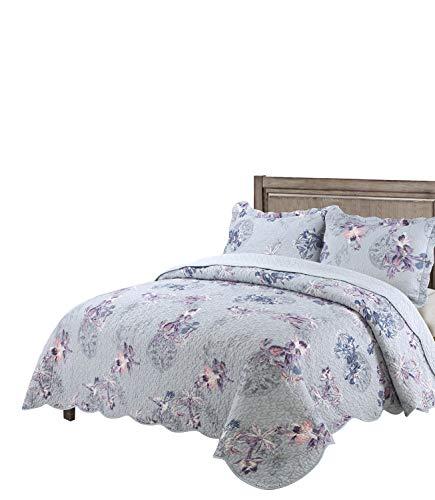vivinna home textile Cotton Quilt Twin Size Sets Include Pillow Sham Bedspread Blanket (Purple Bird, Twin:68