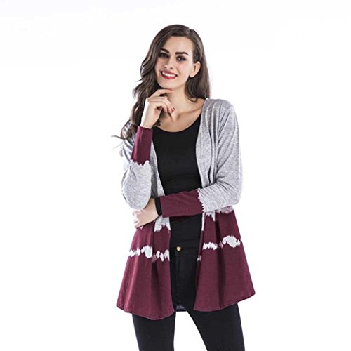 Egmy_Women Coat ❤️❤️Egmy ❤️ Clearance ❤️ Women's Cool Gradient Tops Casual Collarless Coat Weave Cardigan (2XL, Wine Red)