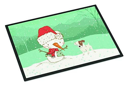 (Caroline's Treasures Jack Russell Terrier Snowman Christmas Door Mat Multicolor)